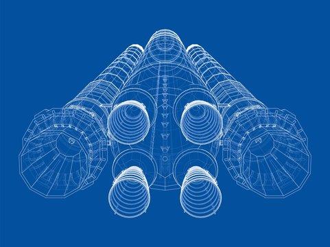 Space rocket concept outline. Vector