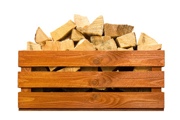 Photo sur Aluminium Texture de bois de chauffage Wooden crate with firewood isolated on white.