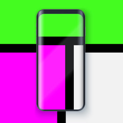 Smartphone layout presentation mockup in Mondrian style. Example frameless model mobile phone with touchscreen on art background. Project application mockup. Vector Illustration