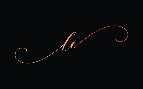 le or l, e Lowercase Cursive Letter Initial Logo Design, Vector Template
