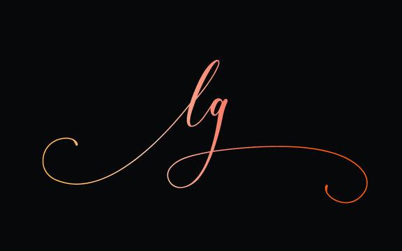 lg or l, g Lowercase Cursive Letter Initial Logo Design, Vector Template