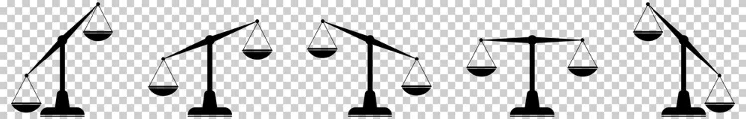 Scales icons set. Law scale icon. Vector flat design