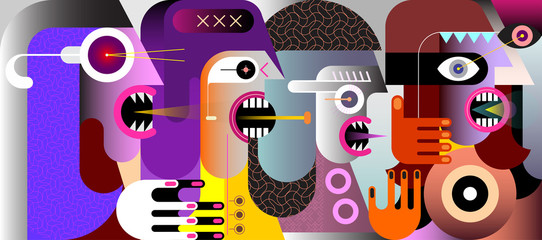 Autocollant pour porte Art abstrait Group of Angry People vector illustration