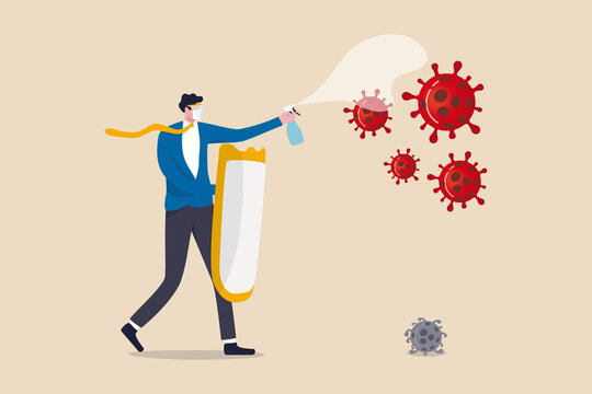 Business company to fight and thriving in Coronavirus outbreak COVID-19 economic crisis concept, businessman leader full protective gear holding strong shield and disinfectant spray fight with virus.