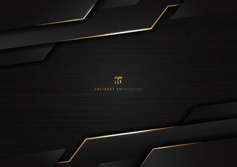 Abstract technology geometric glowing gold and black color shiny motion dark metallic background. Wall mural