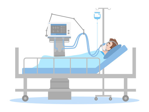 A Man is lying on a bed in a hospital room, The patient connected to a ventilator In a flat cartoon style, Healthcare concept.