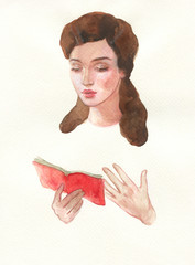 woman read. watercolor painting