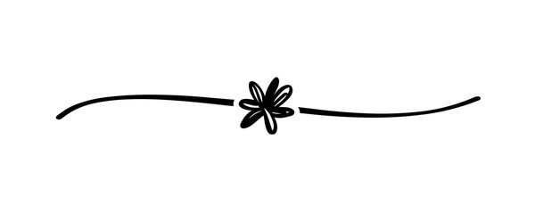 Hand drawn shape flower with cute sketch line, divider shape. Floral doodle isolated on white background for wedding, mother, woman or valentines day. Vector illustration