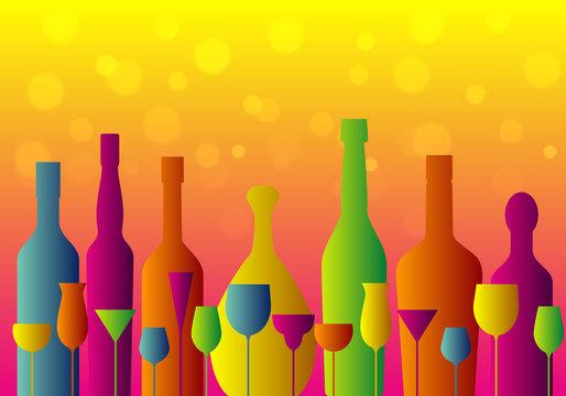 set of colorful cocktail glasses and bottles on orange background