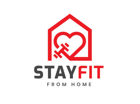 Stay fit from home logo template, Stay home and healthy, Home fitness, work out at home, Coronavirus Covid-19, quarantine motivational phrase. Vector illustration.