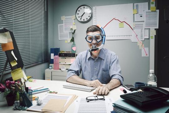 Office worker wearing scuba mask