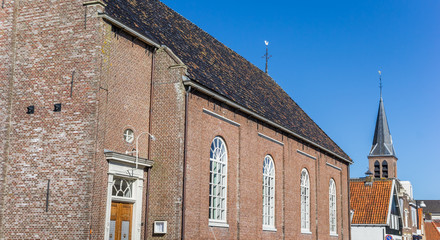 Fototapete - Panorama of two churches in Heeg, Netherlands