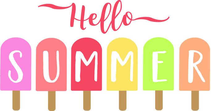 Hello Summer Popsicles Vector Illustration