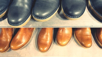 High Angle View Of Shoes In Shelf Wall mural