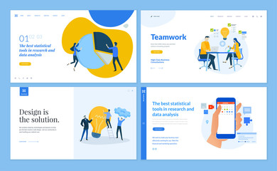 Wall Mural - Set of flat design web page templates of team and teamwork, market research, business analysis and statistics, social . Modern vector illustration concepts for website and mobile website development.
