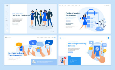 Wall Mural - Set of flat design web page templates of business services, digital marketing, social media, our team, online communic. Modern vector illustration concepts for website and mobile website development.