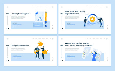 Wall Mural - Set of flat design web page templates of graphic design, seo, market research, data analysis, internet services. Modern vector illustration concepts for website and mobile website development.