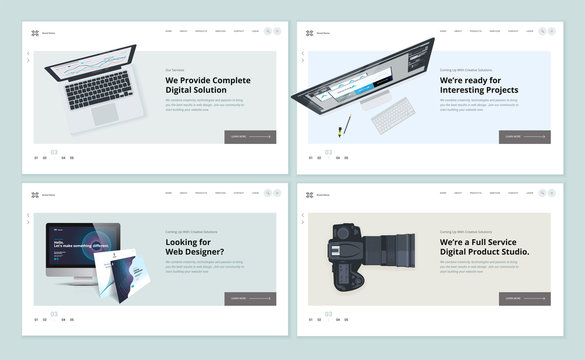 Set of flat design web page templates of web and app design and development, graphic design, video and photo studio. Modern vector illustration concepts for website and mobile website development.