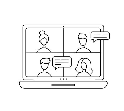 Vector icon monoline online meeting via group call. Four people in video chat. Coleagues in video conference at office or home. concept freelance, remote work, teleworking, Conference call, quarantine