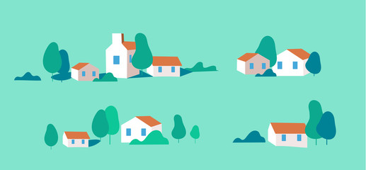 Poster de jardin Vert corail Flat design urban landscape set of buildings.Autumn - vector illustration.