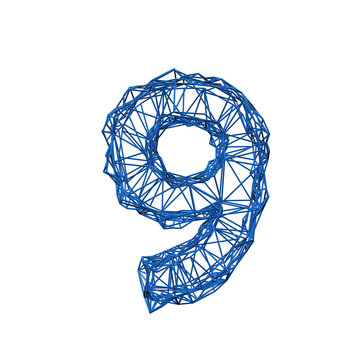 Number 9 wire frame low poly alphabet. 3D rendering
