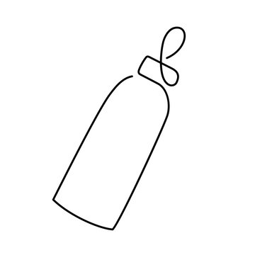 continuous single drawn one line bottle for feeding babies painted by hand picture silhouette. Line art. for baby feeding