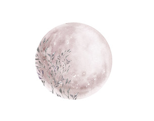 Watercolor pink full moon phase isolated on white background. Watercolor hand drawn earth satellite moon. Magic abstract illustration. Pink floral planet ball