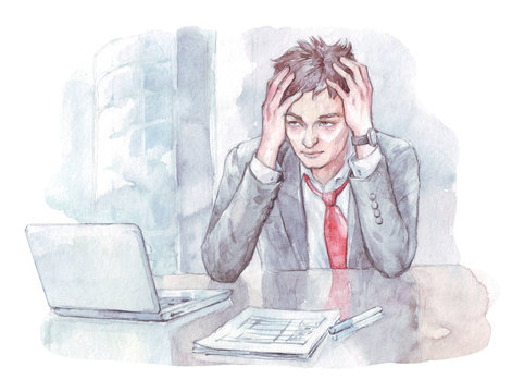 office worker tired watercolor art