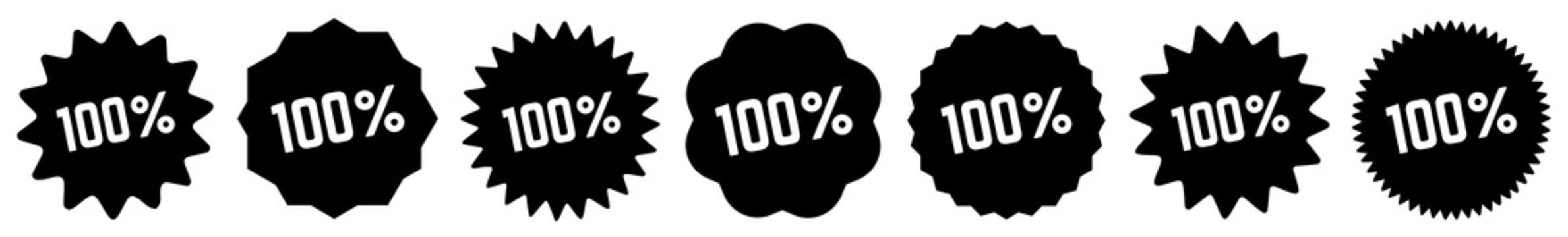 100 % Tag Black | 100 Percent Icon | Sticker | Label | Variations