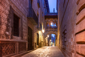 Fototapete - Narrow cobbled medieval Carrer del Bisbe street with Bridge of Sighs in Barri Gothic Quarter in the morning, Barcelona, Catalonia, Spain