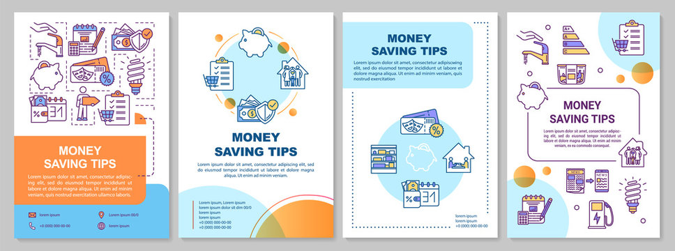 Money saving tips brochure template. Financial resources economy. Flyer, booklet, leaflet print, cover design with linear icons. Vector layouts for magazines, annual reports, advertising posters