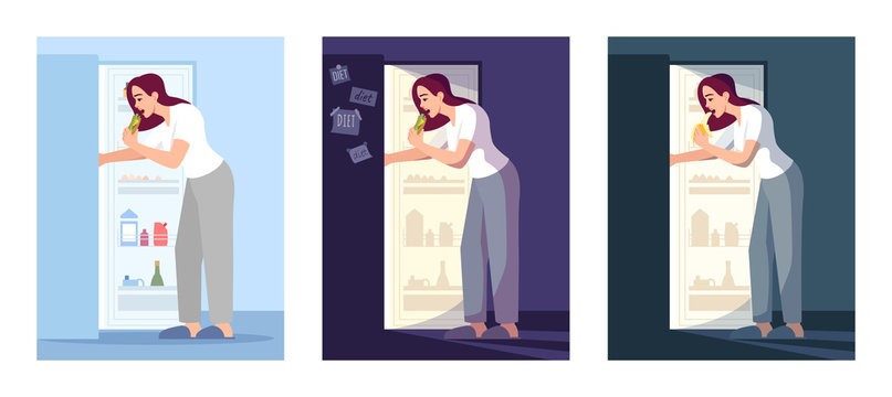 Eating lady flat vector illustrations set. Stressed woman near open fridge isolated cartoon characters kit. Emotional eating, depression. Late night snacks, unhealthy nutrition, overeating