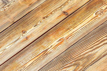 Vintage background with the natural brown color of the wooden slats. Old wooden batten