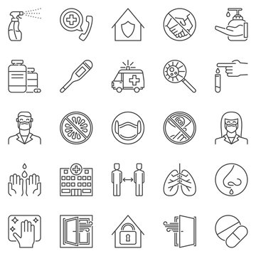 Virus Prevention outline icons set - vector Protective Measures concept linear symbols. Wash hands, wear face mask, disinfection signs
