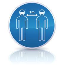 Panneau d'obligation de distanciation sociale de 1m et du port du masque (reflet)