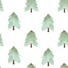 Cute watercolor pattern of green pine trees for Christmas and New Year decoration. Tree silhouettes illustrations isolated on white background. Can be used for design textile, print, wallpaper.