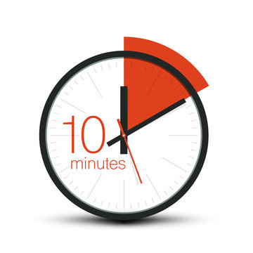 10 Minutes Clock Symbol. Ten Minute Stopwatch Icon. Vector Timer Isolated on White Background.