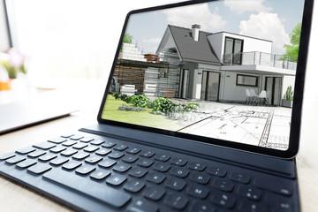 Présentation d'un projet d'architecte de construction d'une maison individuelle 3D sur ordinateur portable