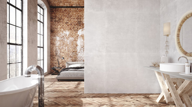 Loft apartment, industrial style ,3d render