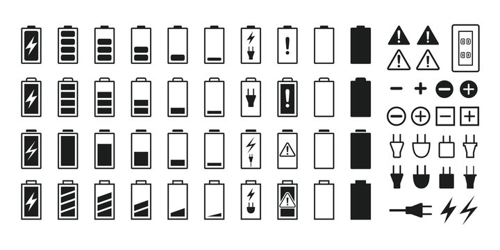 Battery and battery icon set