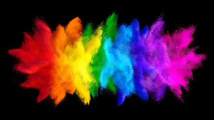 colorful rainbow holi paint color big  double powder explosion isolated dark black wide panorama...