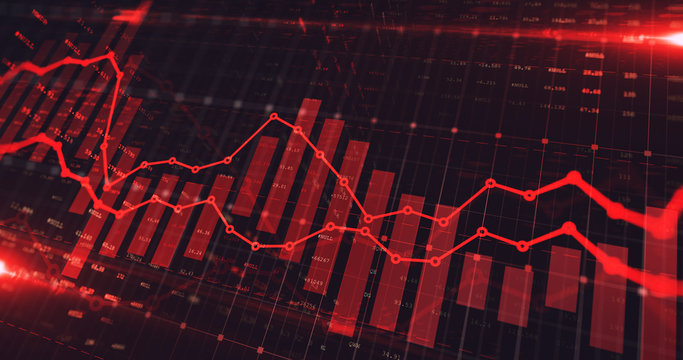 Stock market trading graph in red color as economy 3D illustration background. Trading trends and economic development.