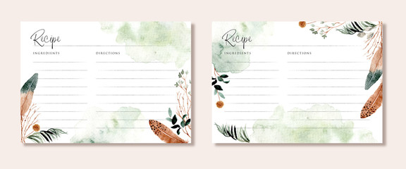Custom blinds with your photo recipe card with rustic branches and feather watercolor