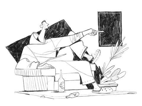 Un uomo seduto sul divano che guarda la TV con il telecomando in mano
