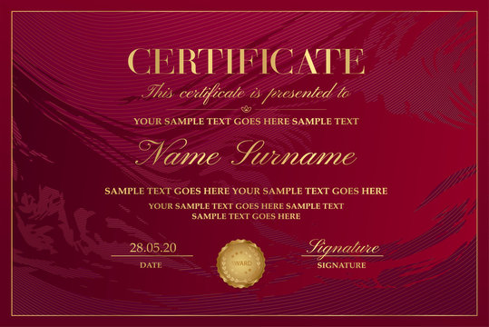 Certificate template with abstract maroon liquid background (marble). Gold design with lines (guilloche pattern) useful for Diploma, certificate of appreciation, achievement and any award