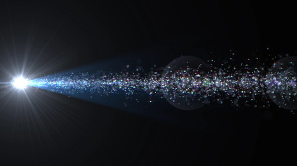 Lens Flares and Particles space lower thirds 3D illustration background.
