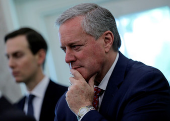 White House Acting Chief of Staff Meadows attends Trump-Bel Edwards coronavirus response meeting at the White House in Washington