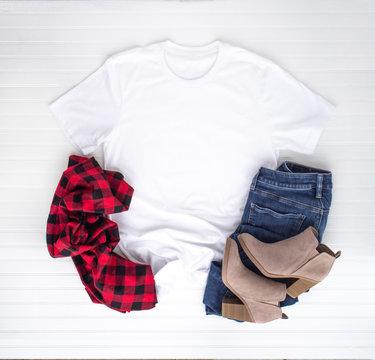 Christmas shirt mockup - white tshirt with buffalo plaid scarf, boots & jeans