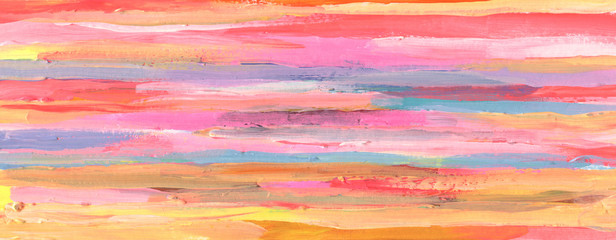 Abstract acrylic and watercolor smear painting. Canvas texture horizontal background. Fotomurales