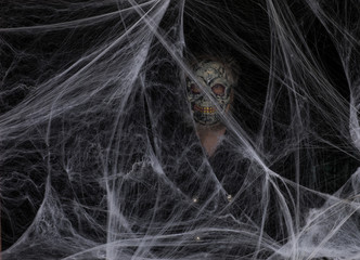 scary mask in a white spider web on a black background Fototapete